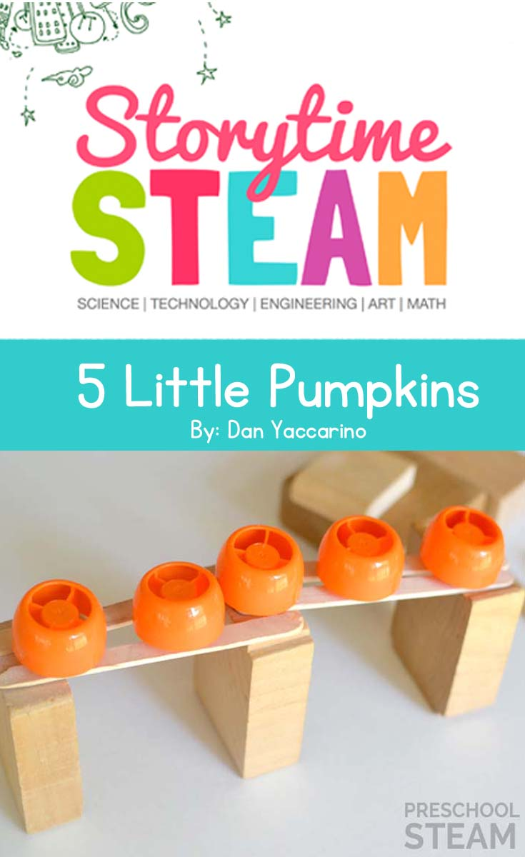 Preschool STEM Activity based on the book, 5 Little Pumpkins