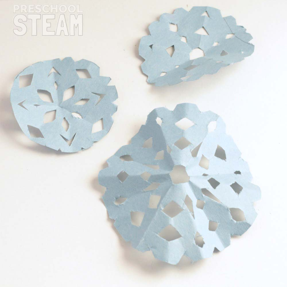 Salt Crystal Paper Snowflakes Science Experiment