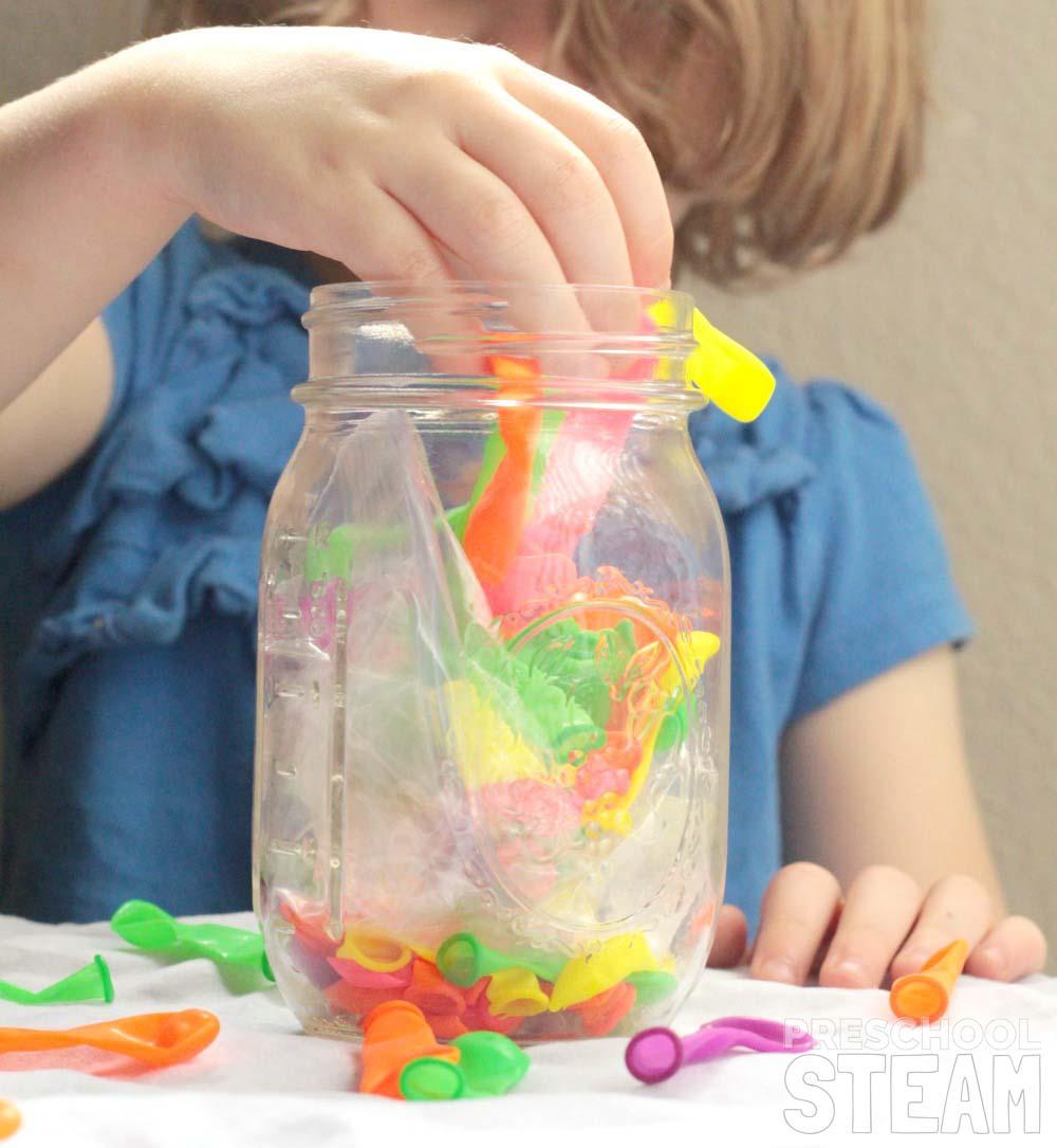 balloons ice mason jar