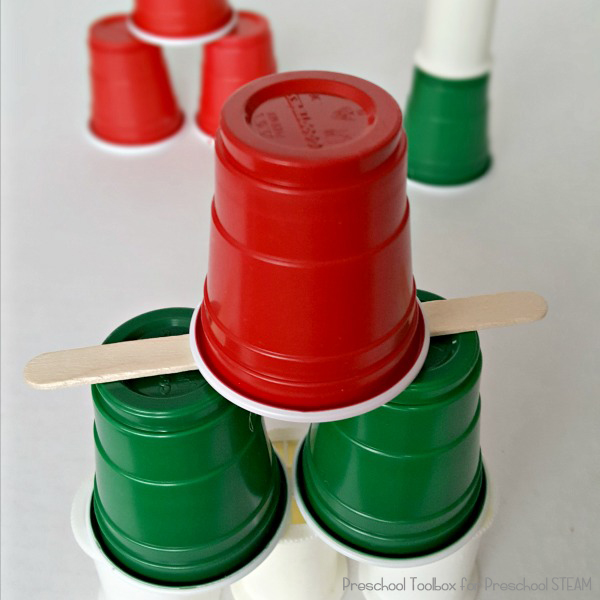 STEAM Activity for Preschoolers Stacking Cups